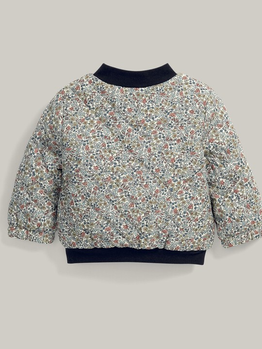 Liberty Print Quilted Bomber Jacket Blue image number 4