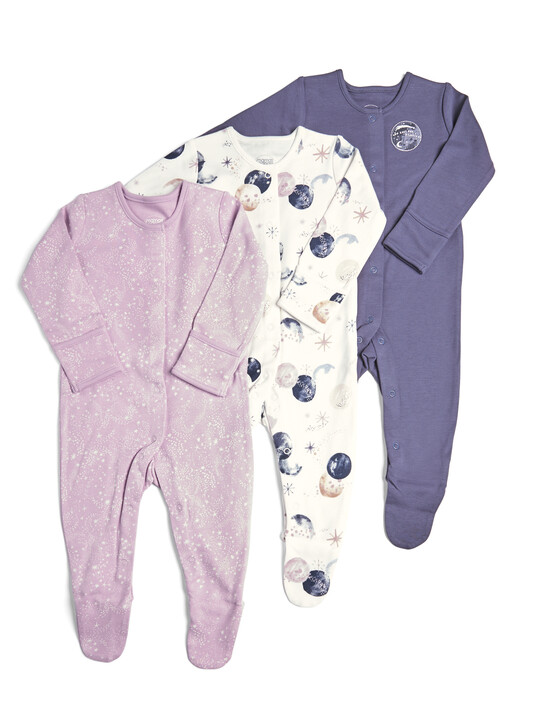 3 Pack of Space Sleepsuits image number 1