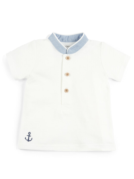 Polo Shirt and Embroidered Shorts - 2 Piece Set image number 3