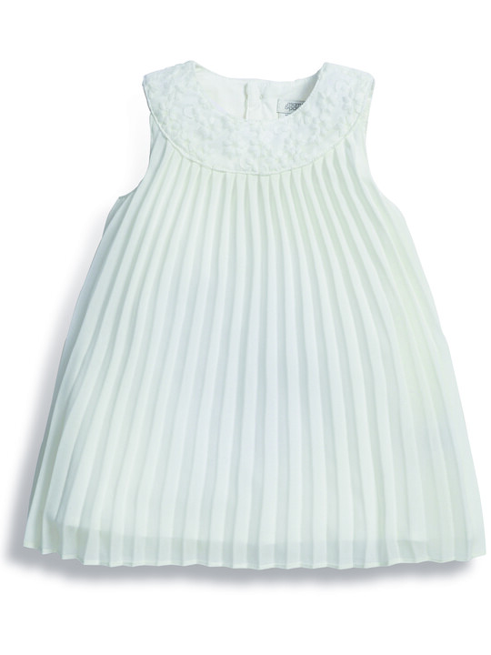 Pleated Dress with Lace Collar image number 1