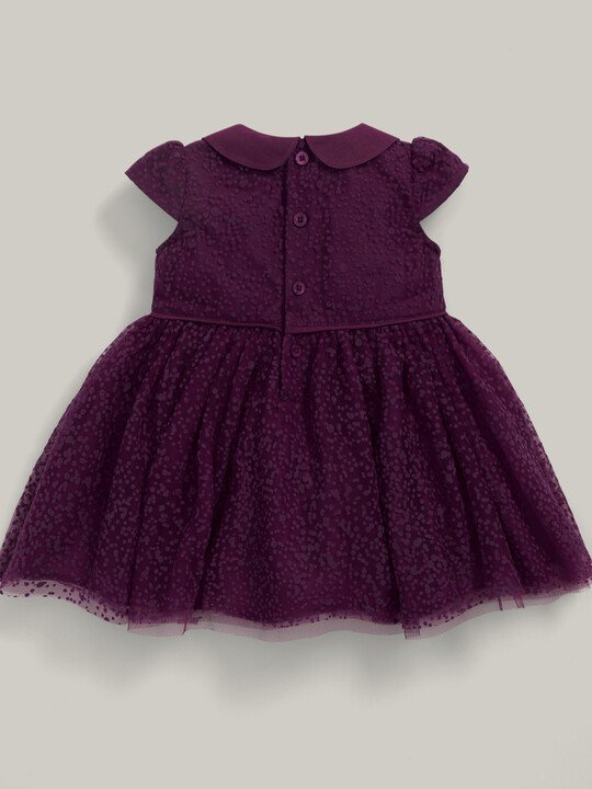 Flocked Spot Fabric Collared Dress Berry image number 2