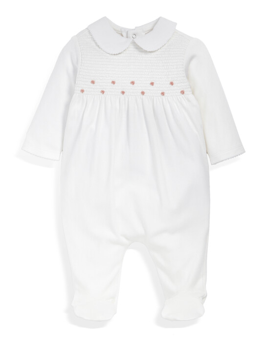 Supima Cotton Smock Detail All-In-One with collar White- 0-3 image number 1