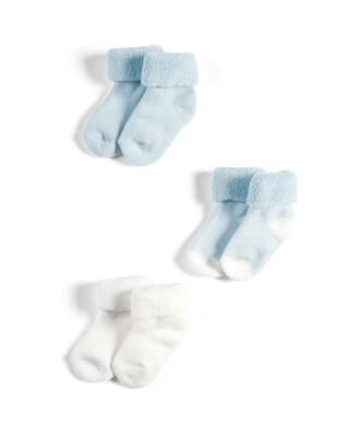 3 Pack Loopback Socks Blue