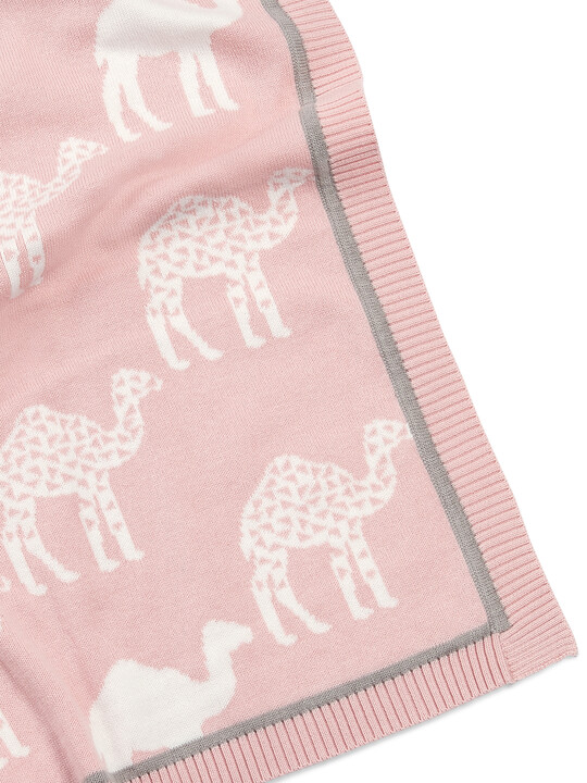 Knitted Blanket (70x90cm) - Pink Camel image number 3