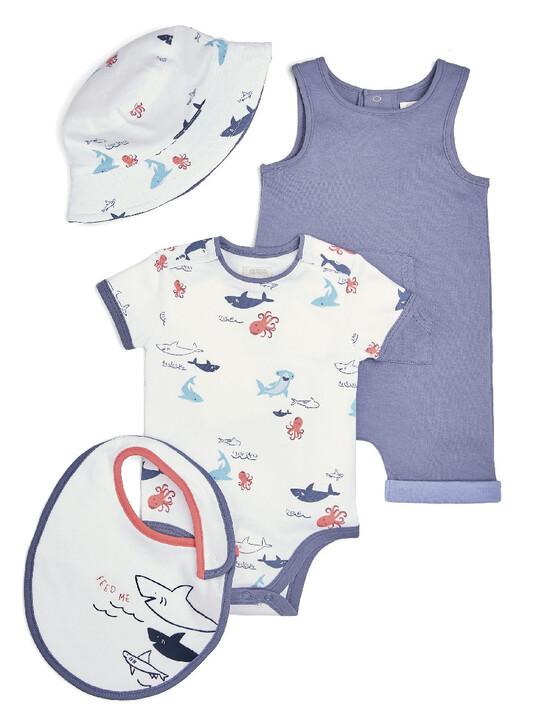 Sea Creature Bodysuit, Romper, Bib & Hat - 4 Piece Set image number 1