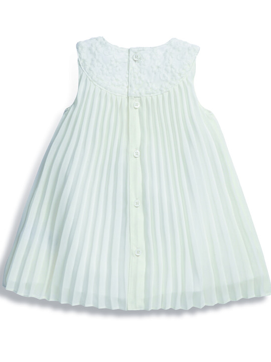 Pleated Dress with Lace Collar image number 3