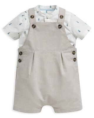 2 Piece Shirt & Linen Dungaree Set