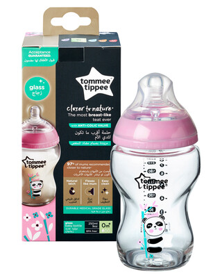 Tommee Tippee Closer To Nature Glass -250ML, Girl