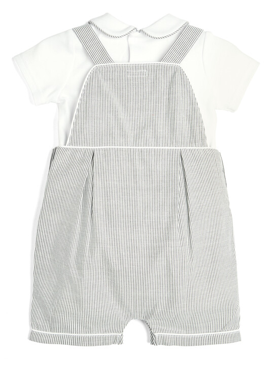 Striped Dungarees and T-Shirt - 2 Piece Set image number 2