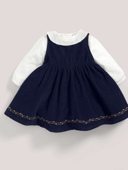Embroidered Collar Blouse & Pinafore image number 1