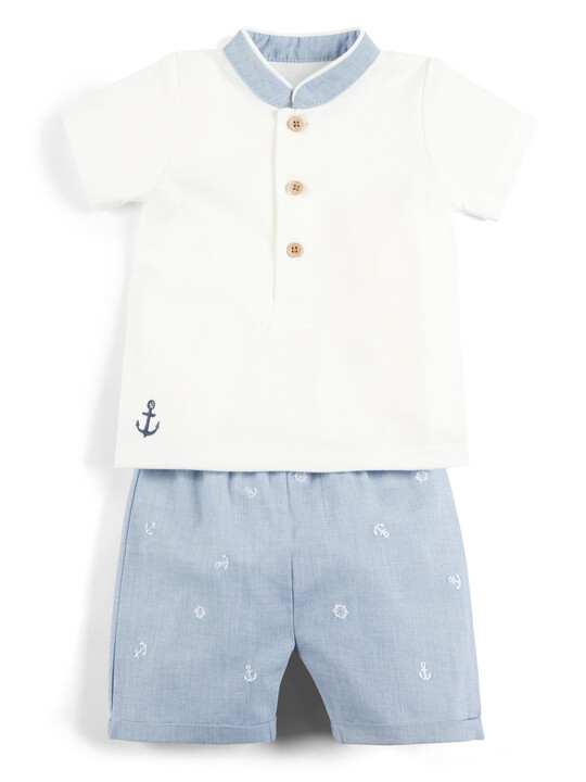 Polo Shirt and Embroidered Shorts - 2 Piece Set image number 1