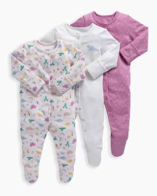 3 Pack Girls Dino Sleepsuits