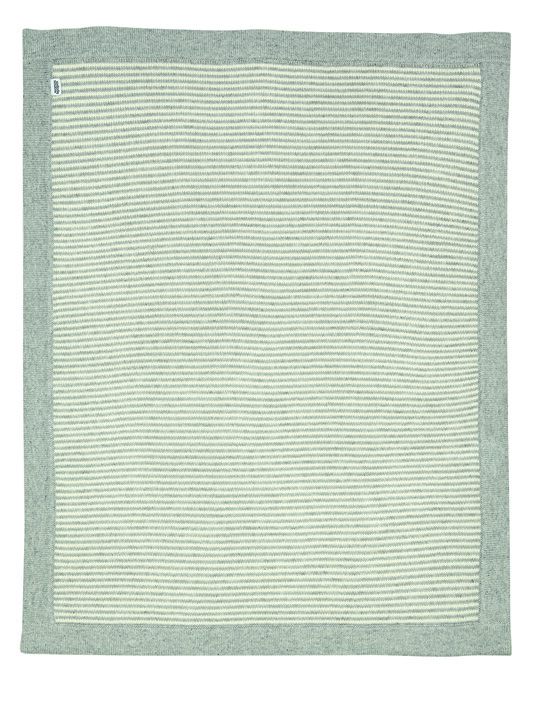 Knitted Blanket - Grey & White Stripe image number 1