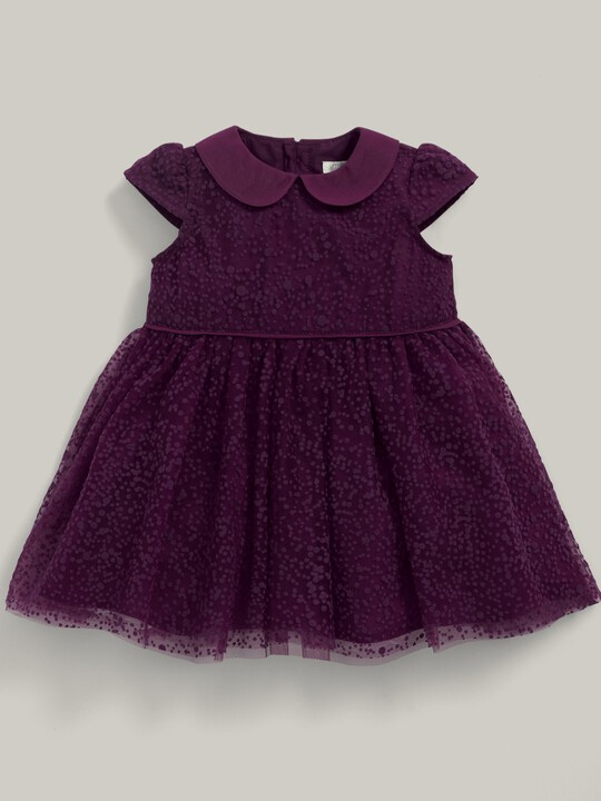 Flocked Spot Fabric Collared Dress Berry image number 1