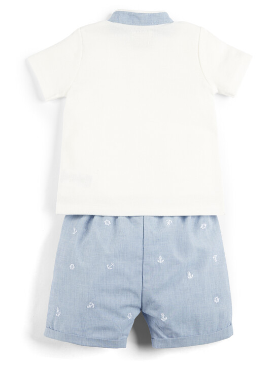 Polo Shirt and Embroidered Shorts - 2 Piece Set image number 2
