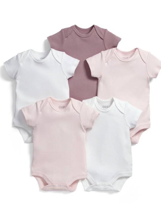 Short Sleeved Pink Bodysuits (5 Pack) image number 1