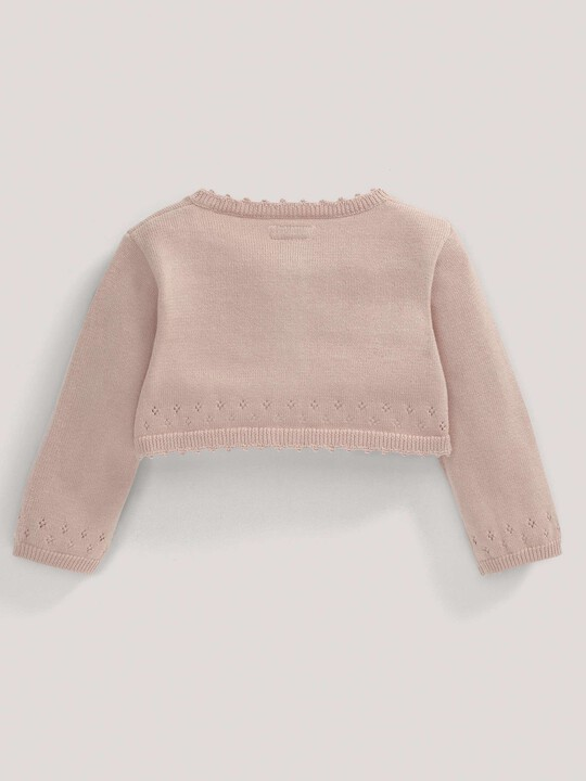 Pointelle Detail Knit Cropped Cardigan Pink- 0-3 image number 4