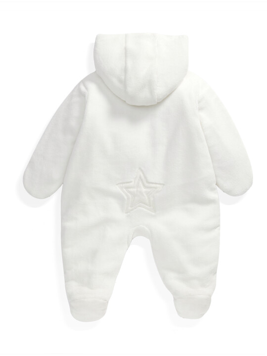 Soft Faux Fur Star Design Pramsuit Sand- New Born image number 6