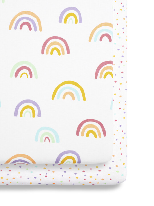 2 Pack Crib Fitted Sheets - Colour Rainbow image number 1