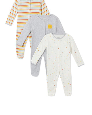 3Pack of  SHAPES Sleepsuits