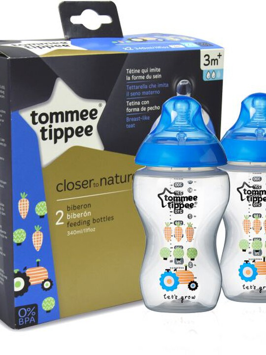 Tommee Tippee Closer to Nature 2x340ml Easi-Vent BPA free Decorative Feeding Bottles - Blue image number 1