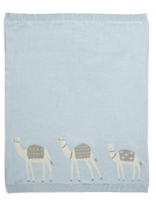 Knitted Blanket (70x90cm) - Blue Camel image number 1