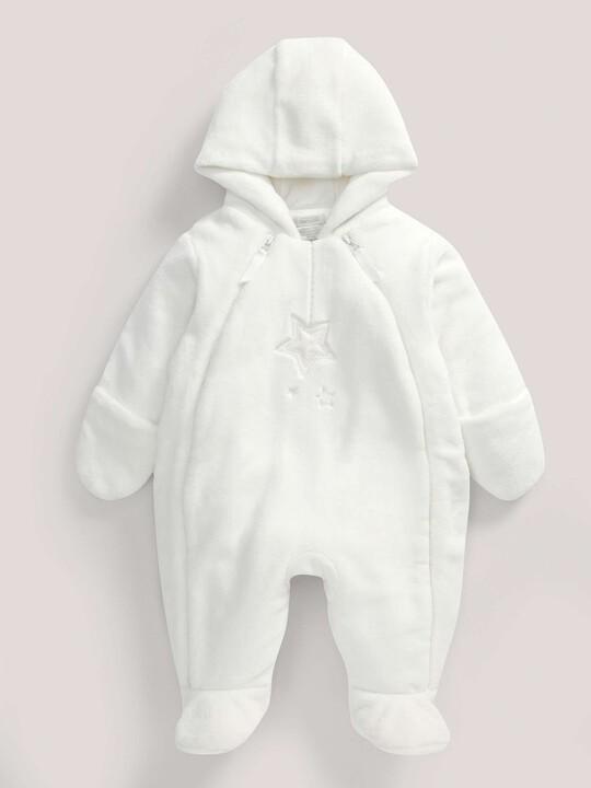 Soft Faux Fur Star Design Pramsuit Sand- New Born image number 4