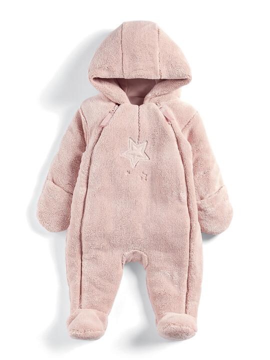 Soft Faux Fur Star Design Pramsuit Pink- 0-3 image number 1