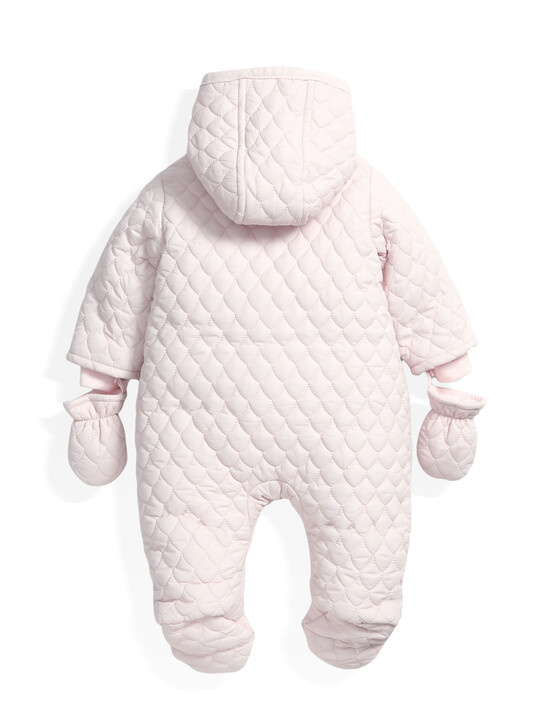 Quilted Pramsuit Pink- 0-3 image number 4