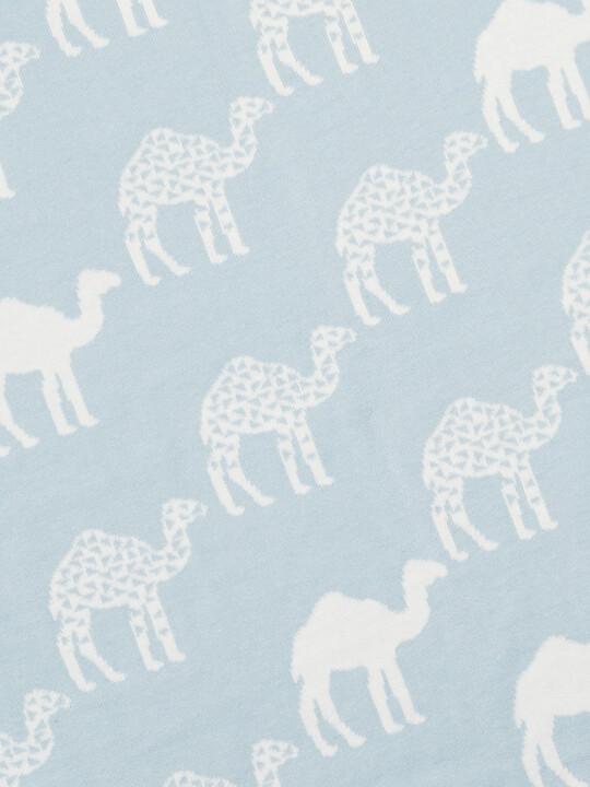 Knitted Blanket (70x90cm) - Blue Camel image number 4