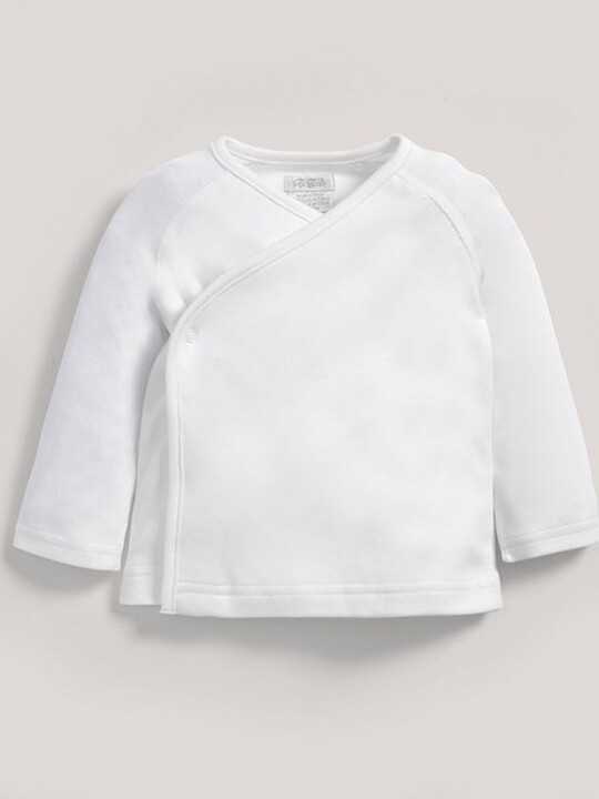 Bamboo Fabric Wrap Top White- New Born image number 3