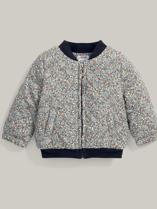 Liberty Print Quilted Bomber Jacket Blue image number 3