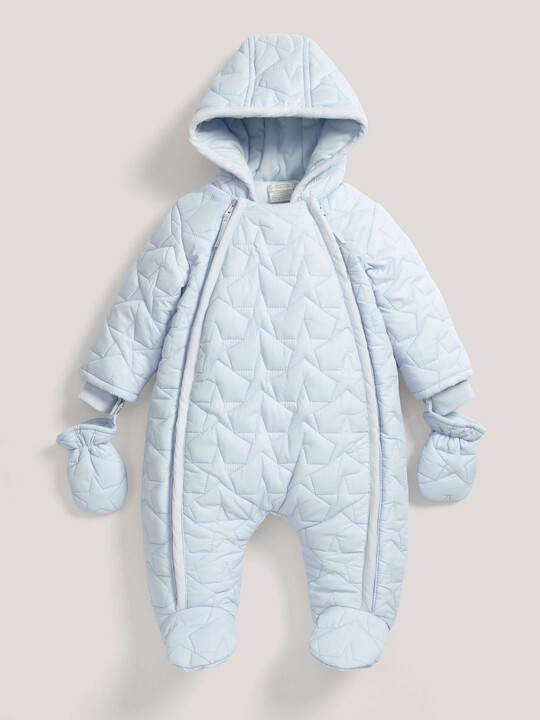 Quilted Pramsuit Blue- 0-3 image number 2