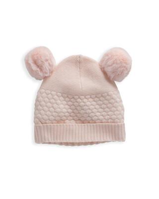 Pink Knitted Pom Pom Hat