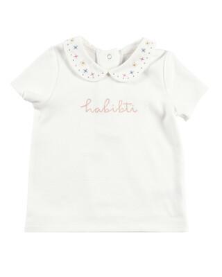 White Collared Slogan T-Shirt