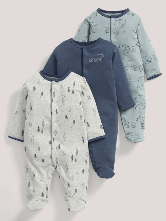 3 pack Bear Print All-In-Ones- 3-6 months image number 1