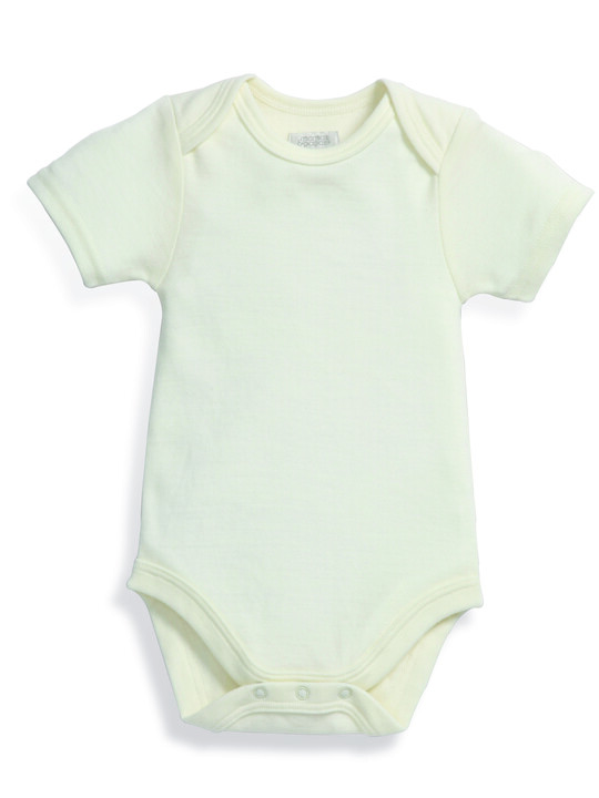 Merino Wool Bodysuit Cream- New Born image number 4
