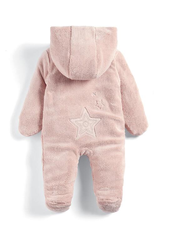 Soft Faux Fur Star Design Pramsuit Pink- 0-3 image number 2