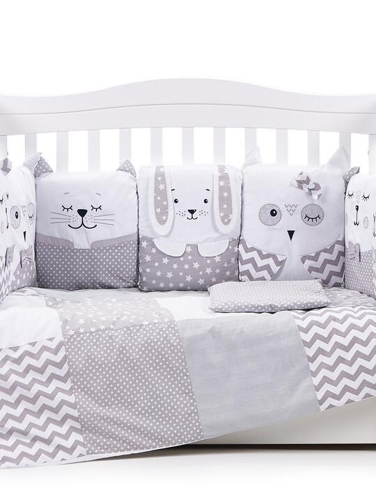 "Veres ""Smiling Animals"" Grey bedding set 6-in-1  image number 1"