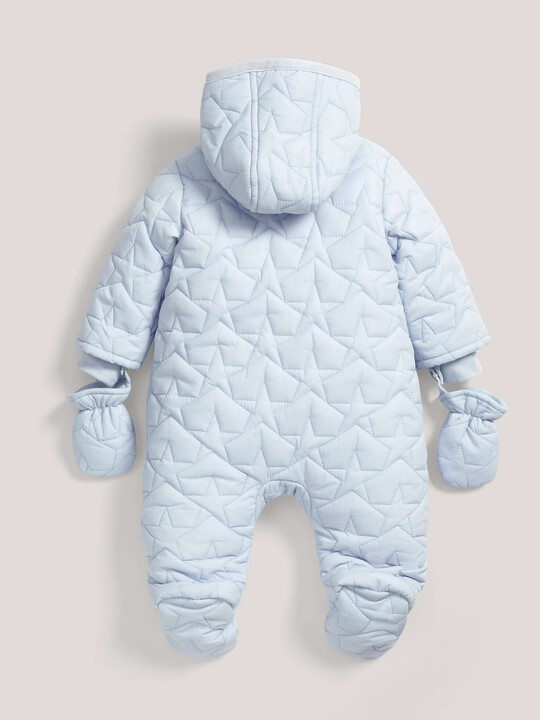 Quilted Pramsuit Blue- 0-3 image number 3