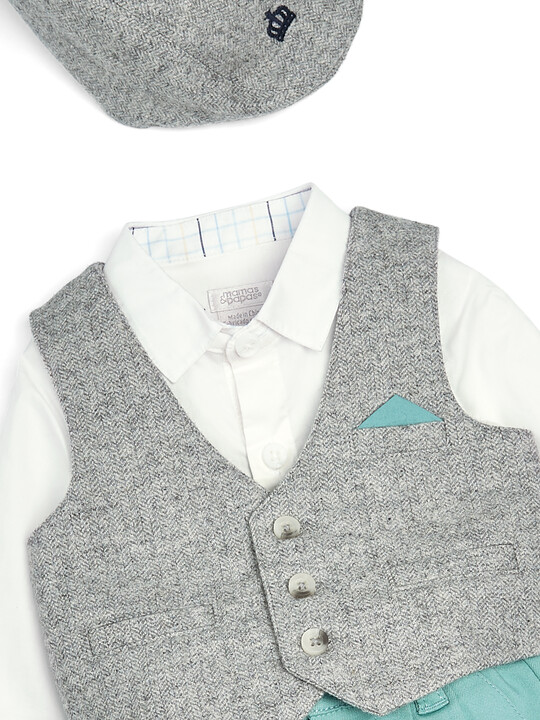Grey & Green Bodysuit, Waistcoat, Shorts & Cap - 4 Piece Set image number 5