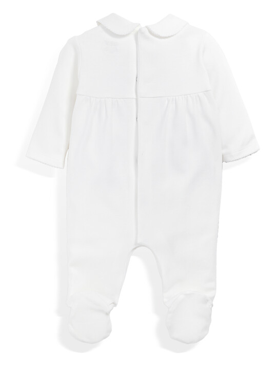 Supima Cotton Smock Detail All-In-One with collar White- 0-3 image number 4