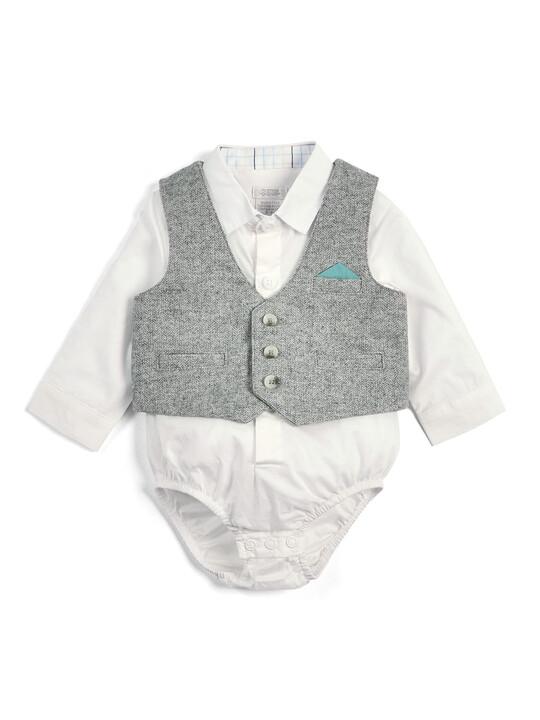 Grey & Green Bodysuit, Waistcoat, Shorts & Cap - 4 Piece Set image number 3