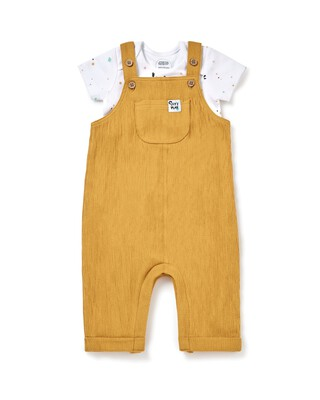 Crinkle Dungaree & Bodysuit Set