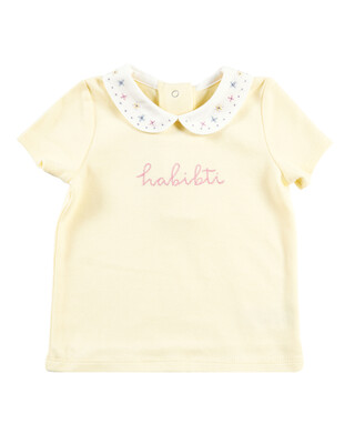 Yellow Collared Slogan T-Shirt