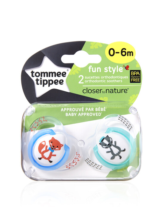 Tommee Tippee Closer to Nature Fun Style Soothers 0-6 months (2 Pack) - Blue image number 2