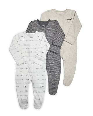 Wild & Free Jersey Sleepsuits - 3 Pack