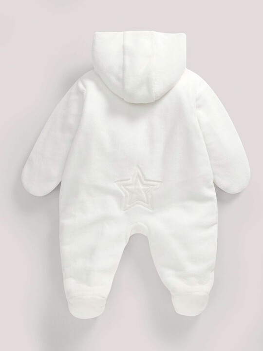 Soft Faux Fur Star Design Pramsuit Sand- New Born image number 5
