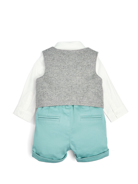 Grey & Green Bodysuit, Waistcoat, Shorts & Cap - 4 Piece Set image number 2