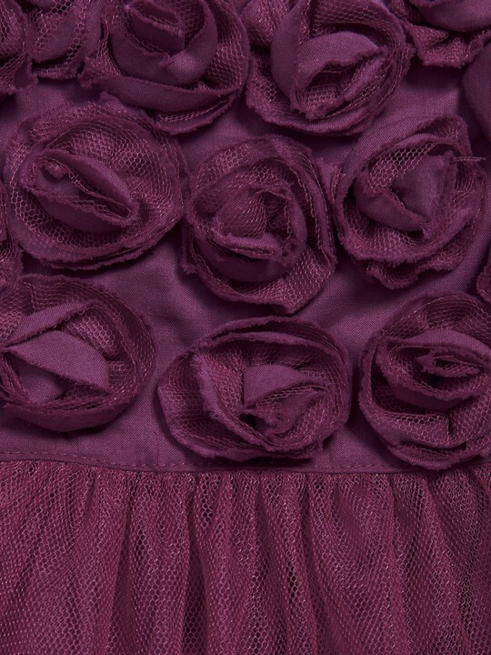 Rose Neckline Waterfall Tulle Dress Berry image number 2